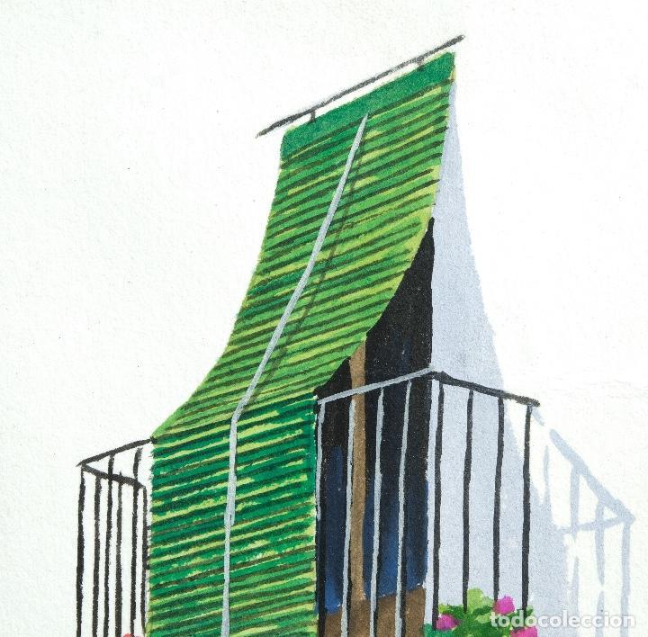 Arte: Acuarela y gouache sobre papel Balcón firma ilegible - Foto 3 - 165380262