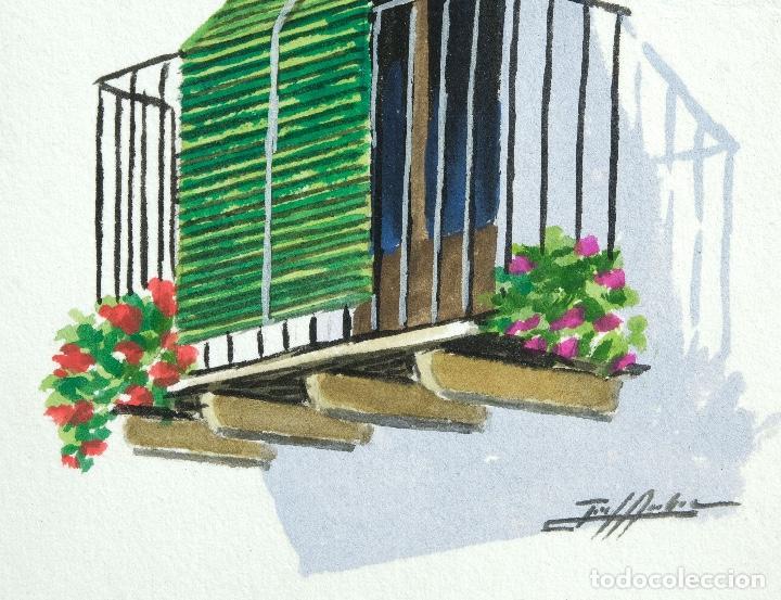 Arte: Acuarela y gouache sobre papel Balcón firma ilegible - Foto 4 - 165380262