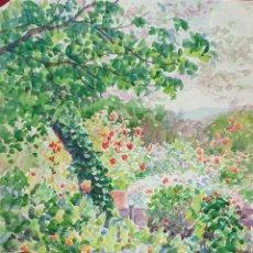 Arte: JARDIN CON FLORES. ACUARELA SOBRE PAPEL. ATRIB. JULIAN DEL POZO. 1931. Lote 165616066