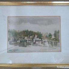 Arte: ACUARELA ORIGINAL DE FINO LORENZO ENMARCADA AÑOS 90 BAYONA GALICIA. Lote 165646618