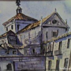 Arte: CUADRO ACUARELA IGLESIA ENMARCADA Y CRISTAL MEDIDA 51 X 42 CM. FIRMADA L. B. DE TALLA. Lote 165649974