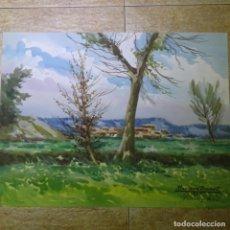Arte: ACUARELA DE MARIANO BRUNET.PAISATGE DE VIC.. Lote 165687770
