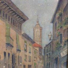 Arte: F. HASSEL ANTIGUA ACUARELA CALLE DE ZARAGOZA HACIA 1930. Lote 165866070