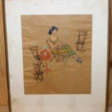 Arte: CERAS SOBRE PAPEL - MUJER FUMANDO - FIRMA ILEGIBLE (MARCO R.?), FECHADO EN 1957. Lote 165964322
