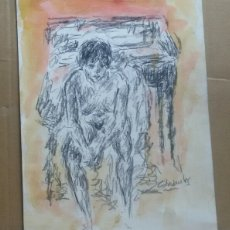 Arte: MUJER SENTADA ORIGINAL. Lote 166001961
