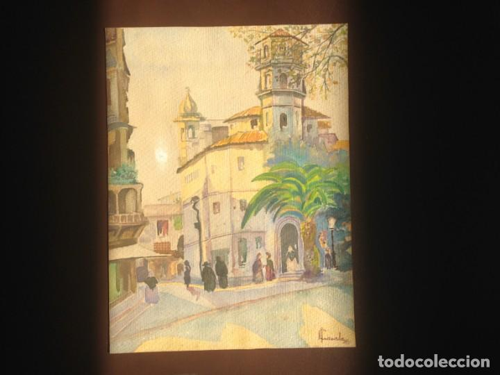Arte: IMAGEN PLAZA DE PUEBLO PAÍS VASCO. ACUARELA SOBRE CARTÓN - AUTOR; JOSE LUIS ?ILA. 1945 - Foto 2 - 166041718