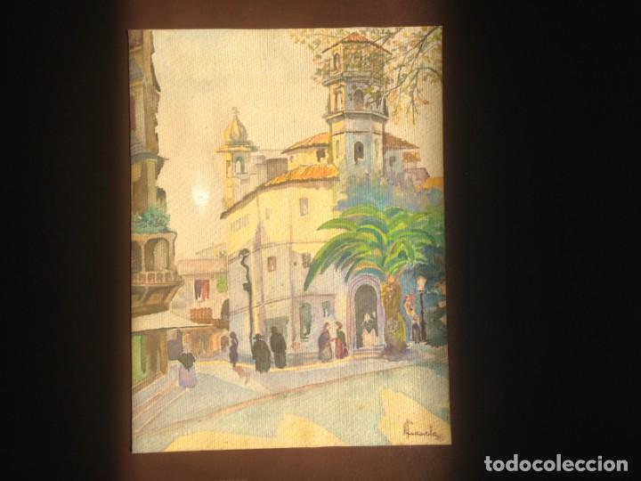 IMAGEN PLAZA DE PUEBLO PAÍS VASCO. ACUARELA SOBRE CARTÓN - AUTOR; JOSE LUIS ?ILA. 1945 (Arte - Acuarelas - Contemporáneas siglo XX)