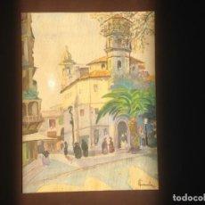Arte: IMAGEN PLAZA DE PUEBLO PAÍS VASCO. ACUARELA SOBRE CARTÓN - AUTOR; JOSE LUIS ?ILA. 1945. Lote 166041718