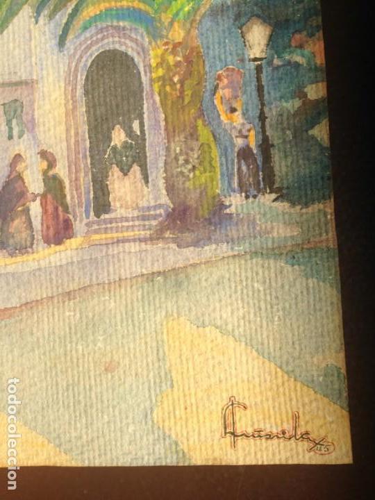Arte: IMAGEN PLAZA DE PUEBLO PAÍS VASCO. ACUARELA SOBRE CARTÓN - AUTOR; JOSE LUIS ?ILA. 1945 - Foto 4 - 166041718
