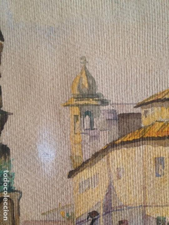 Arte: IMAGEN PLAZA DE PUEBLO PAÍS VASCO. ACUARELA SOBRE CARTÓN - AUTOR; JOSE LUIS ?ILA. 1945 - Foto 8 - 166041718