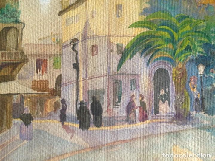 Arte: IMAGEN PLAZA DE PUEBLO PAÍS VASCO. ACUARELA SOBRE CARTÓN - AUTOR; JOSE LUIS ?ILA. 1945 - Foto 9 - 166041718
