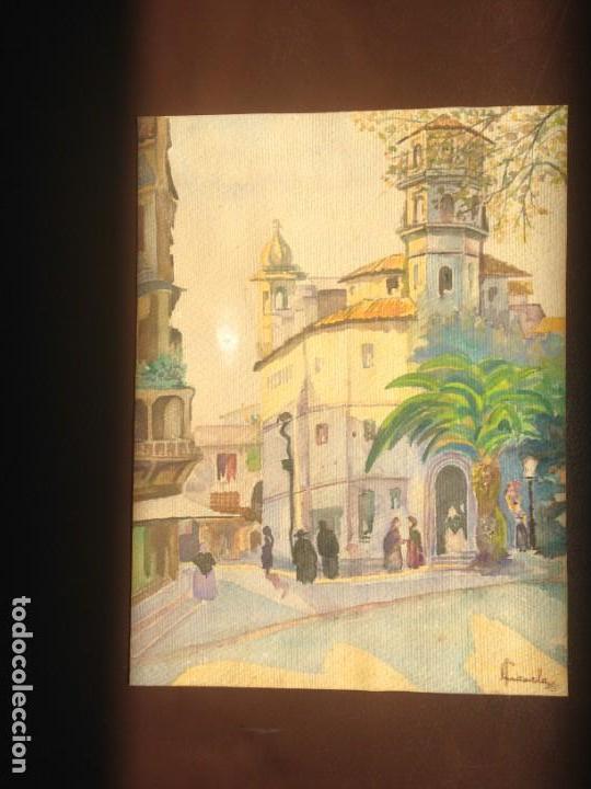Arte: IMAGEN PLAZA DE PUEBLO PAÍS VASCO. ACUARELA SOBRE CARTÓN - AUTOR; JOSE LUIS ?ILA. 1945 - Foto 3 - 166041718