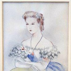 Arte: JOSÉ LUIS FLORIT RODERO (CATALUÑA 1909-2001) PEQUEÑA Y PRECIOSA ACUARELA DE UNA BELLA DAMA, FIRMADA.. Lote 166091578
