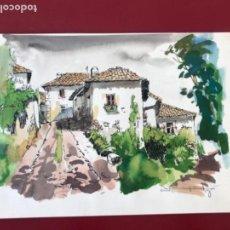 Arte: ACUARELA Y LIBRO DE RAMON PUJOL. HIVERN-ESTIU-TARDOR-PRIMAVERA. SINIEA DEL TEMPS OLOT. . Lote 166094582