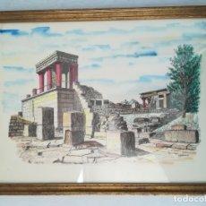 Arte: ACUARELA DE CRETA DEL PINTOR J. KOUNENAKIS. Lote 166166650