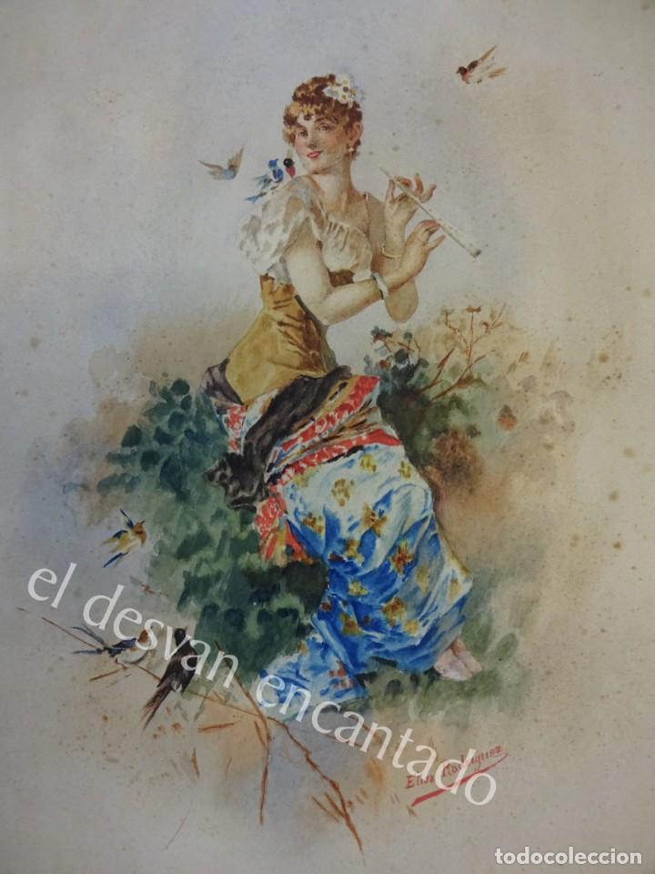 ACUARELA ORIGINAL SIGLO XIX. FIRMADA ELISA RODRÍGUEZ. GRAN COLORIDO. 46 X 32 CTMS. (Arte - Acuarelas - Modernas siglo XIX)