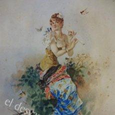 Arte: ACUARELA ORIGINAL SIGLO XIX. FIRMADA ELISA RODRÍGUEZ. GRAN COLORIDO. 46 X 32 CTMS.. Lote 166179302