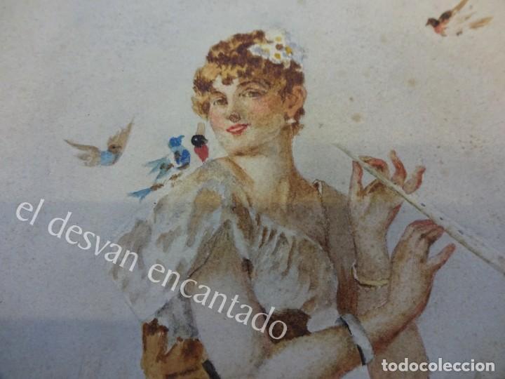 Arte: Acuarela original Siglo XIX. Firmada Elisa Rodríguez. Gran colorido. 46 x 32 ctms. - Foto 2 - 166179302