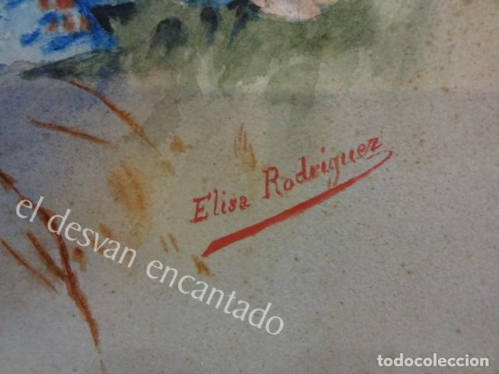 Arte: Acuarela original Siglo XIX. Firmada Elisa Rodríguez. Gran colorido. 46 x 32 ctms. - Foto 3 - 166179302