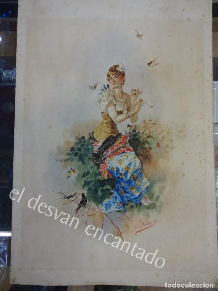 Arte: Acuarela original Siglo XIX. Firmada Elisa Rodríguez. Gran colorido. 46 x 32 ctms. - Foto 4 - 166179302