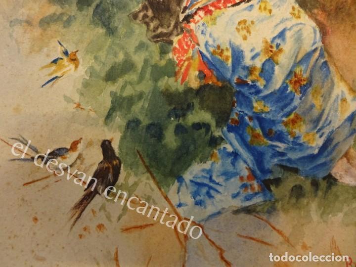 Arte: Acuarela original Siglo XIX. Firmada Elisa Rodríguez. Gran colorido. 46 x 32 ctms. - Foto 5 - 166179302