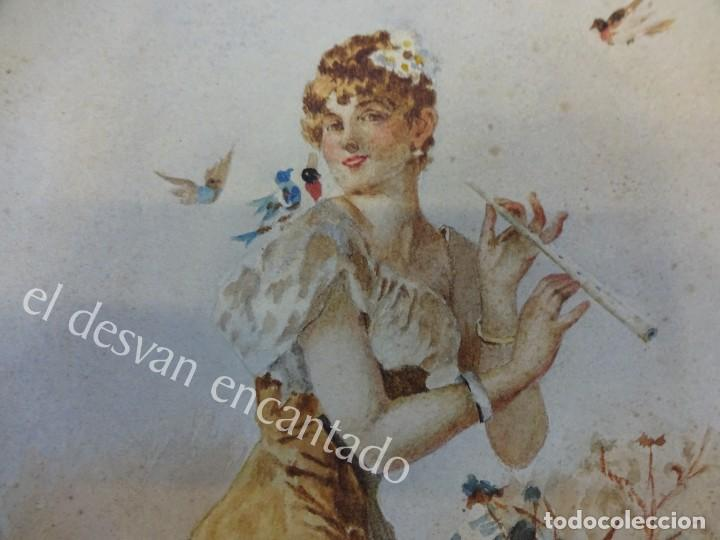 Arte: Acuarela original Siglo XIX. Firmada Elisa Rodríguez. Gran colorido. 46 x 32 ctms. - Foto 6 - 166179302