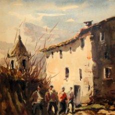 Arte: JOSEP TRAITÉ COMPTE (OLOT, GIRONA, 1935) ACUARELA PAPEL DEL AÑO 1979. ESCENA RURAL. Lote 166461182