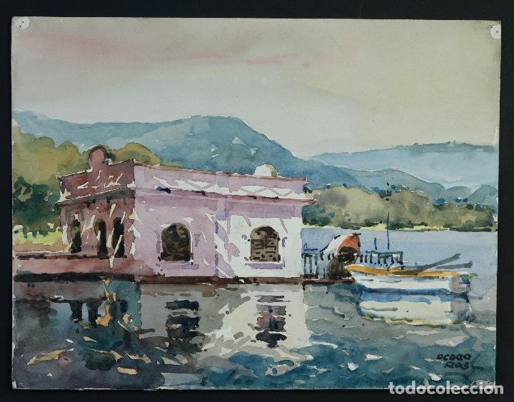 Arte: Acuarela sobre papel Puerto firma ilegible siglo XX - Foto 2 - 166617606