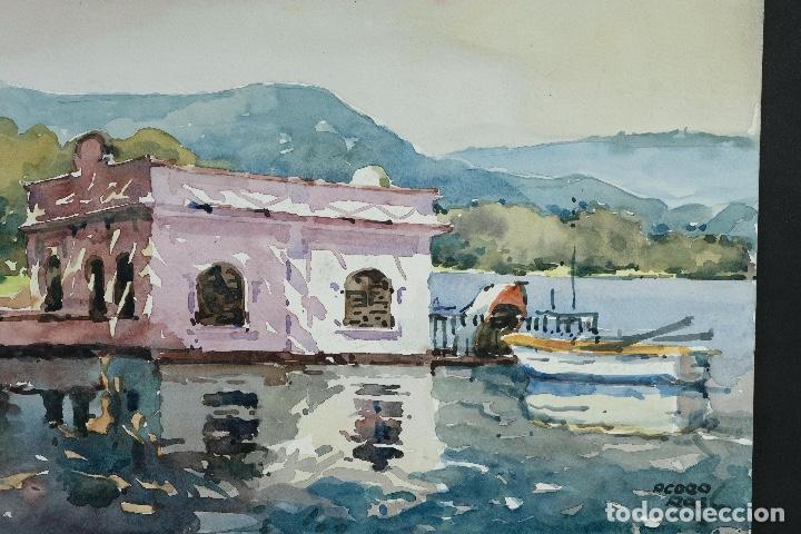 Arte: Acuarela sobre papel Puerto firma ilegible siglo XX - Foto 3 - 166617606