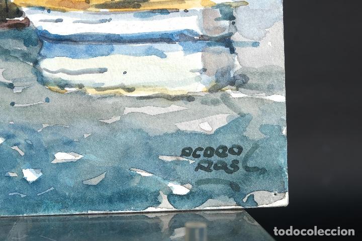 Arte: Acuarela sobre papel Puerto firma ilegible siglo XX - Foto 4 - 166617606