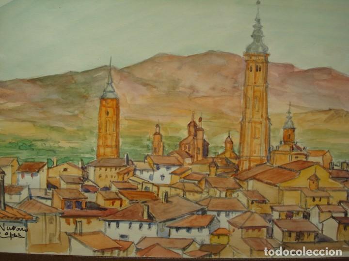 ACUARELA VISTA DE CALATAYUD ,MANUEL NAVARRO LÓPEZ.ZARAGOZA,ARAGÓN. (Arte - Acuarelas - Contemporáneas siglo XX)