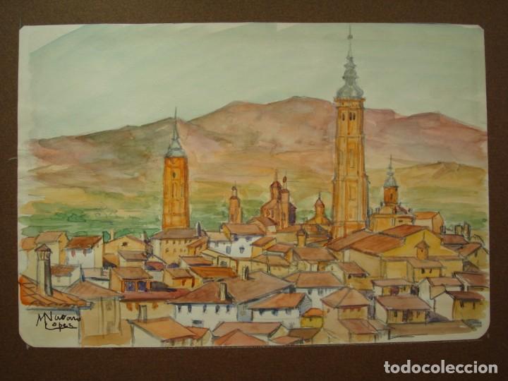 Arte: ACUARELA VISTA DE CALATAYUD ,MANUEL NAVARRO LÓPEZ.ZARAGOZA,ARAGÓN. - Foto 2 - 166703426