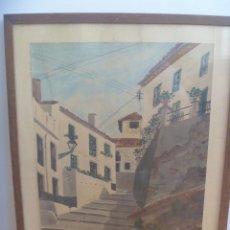 Arte: BONITA ACUARELA DE UNA CALLE DE TORREMOLINOS ( MALAGA ) . DE SESMERO , 1959. ENMARCADA. Lote 166832670