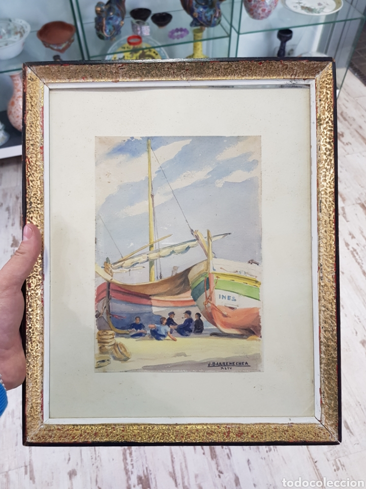 ACUARELA DE JOSEP BARRENECHEA TUBILLA 1908-1991 TEMA MARITIMO , MARINA PESCADORES BARCAS (Arte - Acuarelas - Contemporáneas siglo XX)
