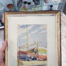 Arte: ACUARELA DE JOSEP BARRENECHEA TUBILLA 1908-1991 TEMA MARITIMO , MARINA PESCADORES BARCAS. Lote 167963649