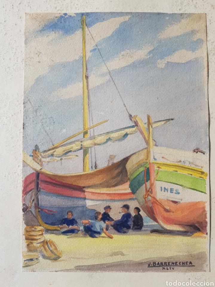 Arte: Acuarela de Josep Barrenechea Tubilla 1908-1991 tema maritimo , marina pescadores barcas - Foto 2 - 167963649