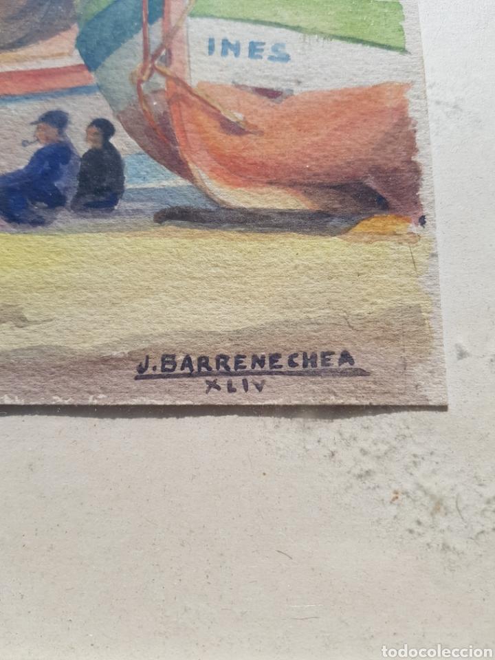 Arte: Acuarela de Josep Barrenechea Tubilla 1908-1991 tema maritimo , marina pescadores barcas - Foto 3 - 167963649