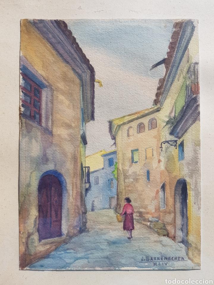 Arte: Acuarela de Josep Barrenechea Tubilla 1908-1991, paisaje rural - Foto 3 - 167964100