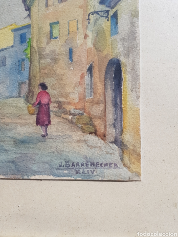 Arte: Acuarela de Josep Barrenechea Tubilla 1908-1991, paisaje rural - Foto 4 - 167964100