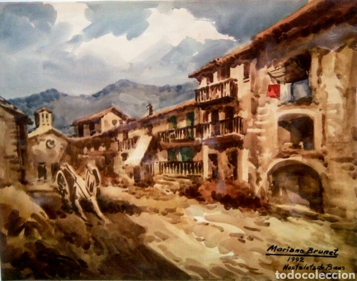MARIANO BRUNET ( HOSTALETS DE BASS , OLOT) (Arte - Acuarelas - Contemporáneas siglo XX)