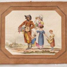 Art: MARAVILLOSA ACUARELA ORIGINAL DE FINALES SIGLO XVIII, POSIBLEMENTE ESCUELA FRANCESA, FIRMADO CHS.. Lote 168075712
