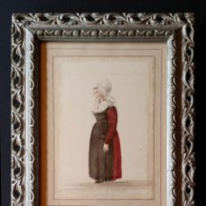 Arte: DIBUJO A LA ACUARELA DE OBRA DE ADRIEN DAUZATS, SIGLO XIX / REVERSO CON DIBUJO. Lote 168168360