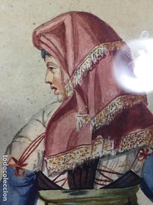 Arte: ACUARELA ITALIA FRANCIA PAREJA CAMPESINOS TRAJES TRADICIONALES COLLELONGO ABRUZZO FIN S XVIII 45CM - Foto 4 - 168177616