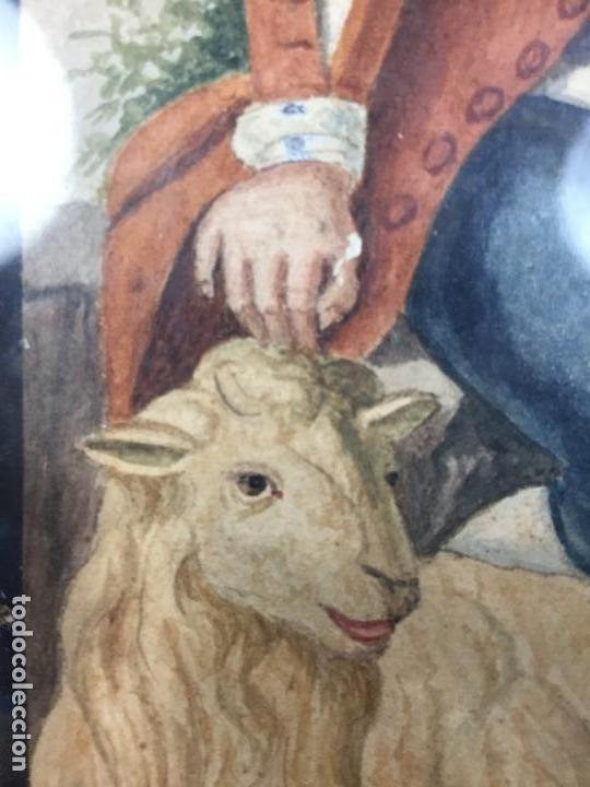 Arte: ACUARELA ITALIA FRANCIA PAREJA CAMPESINOS TRAJES TRADICIONALES COLLELONGO ABRUZZO FIN S XVIII 45CM - Foto 5 - 168177616