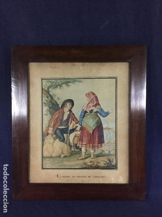 ACUARELA ITALIA FRANCIA PAREJA CAMPESINOS TRAJES TRADICIONALES COLLELONGO ABRUZZO FIN S XVIII 45CM (Arte - Acuarelas - Antiguas hasta el siglo XVIII)