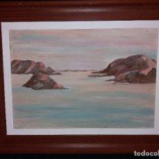 Arte: MARINA ACUARELA ÓLEO SOBRE TABLA FIRMADO TORRES. Lote 168305200