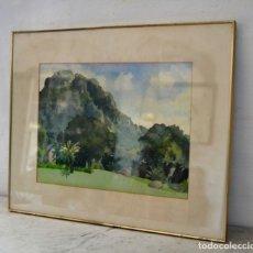 Arte: ACUARELA ORIGINAL FIRMADA HEATHER MOCKRIDGE * PAISAJE * TABLE MOUNTAIN ROM KIRSTENBOSCH. Lote 168626896