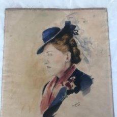 Arte: RETRATO DE MUJER - ACUARELA SOBRE PAPEL. FIRMADO MACIÀ 1942 . Lote 168668728