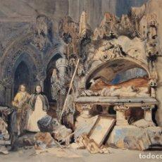 Arte: ACUARELA INGLESA. S. XIX. INTERIOR DE UN CONVENTO CON RUINAS Y PERSONAJES. Lote 168847756