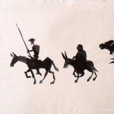 Arte: DON QUIJOTE Y SANCHO PANZA. ACUARELA EN NEGRO SIN FIRMAR. EN PAPEL Y MARCA AL AGUA VILASECA 1ª. . Lote 168938584